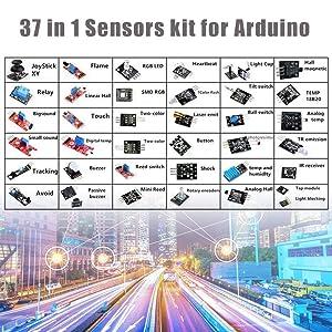 Comidox 37/Set Sensor Assortment Kit 37 in 1 Sensor Module Starter Kit for Arduino MCU Educ(Infrared/Temperature/Avoid Obstacle/Buzzer Sensor etc)