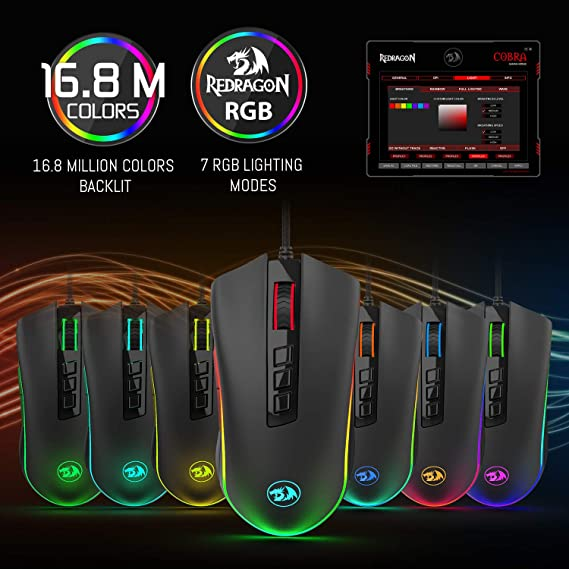 1c77652140b Amazon.com: Redragon M711 Cobra Gaming Mouse with 16.8 Million RGB Color  Backlit, 10,000 DPI Adjustable, Comfortable Grip, 7 Programmable Buttons:  Computers ...