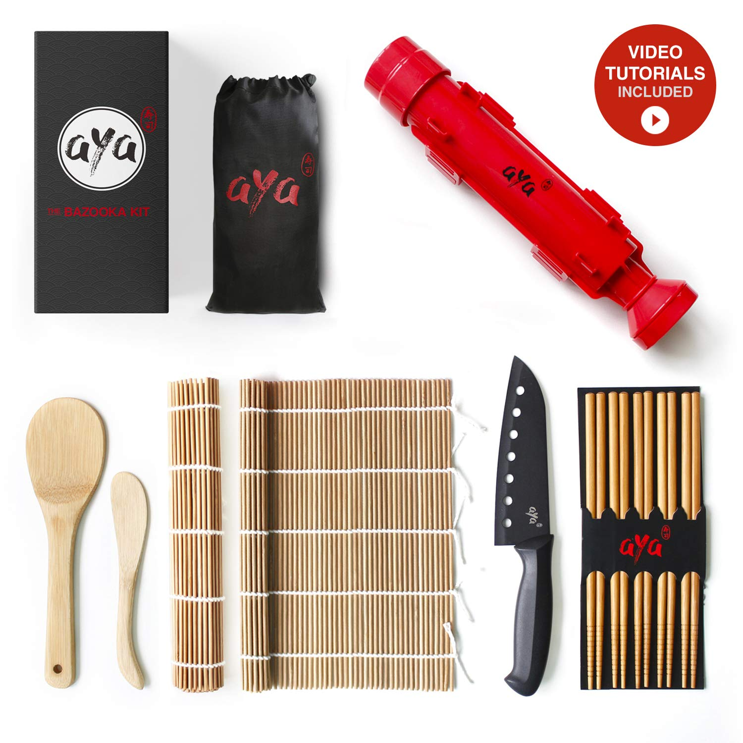 Sushi Making Kit - Original AYA Bazooka Kit with Sushi Chef Knife - Online Video Tutorials - All-In-One Bazooka Sushi Maker - 2 Natural Premium Bamboo Mats - Paddle & Spreader - 5 x Chopsticks by Aya