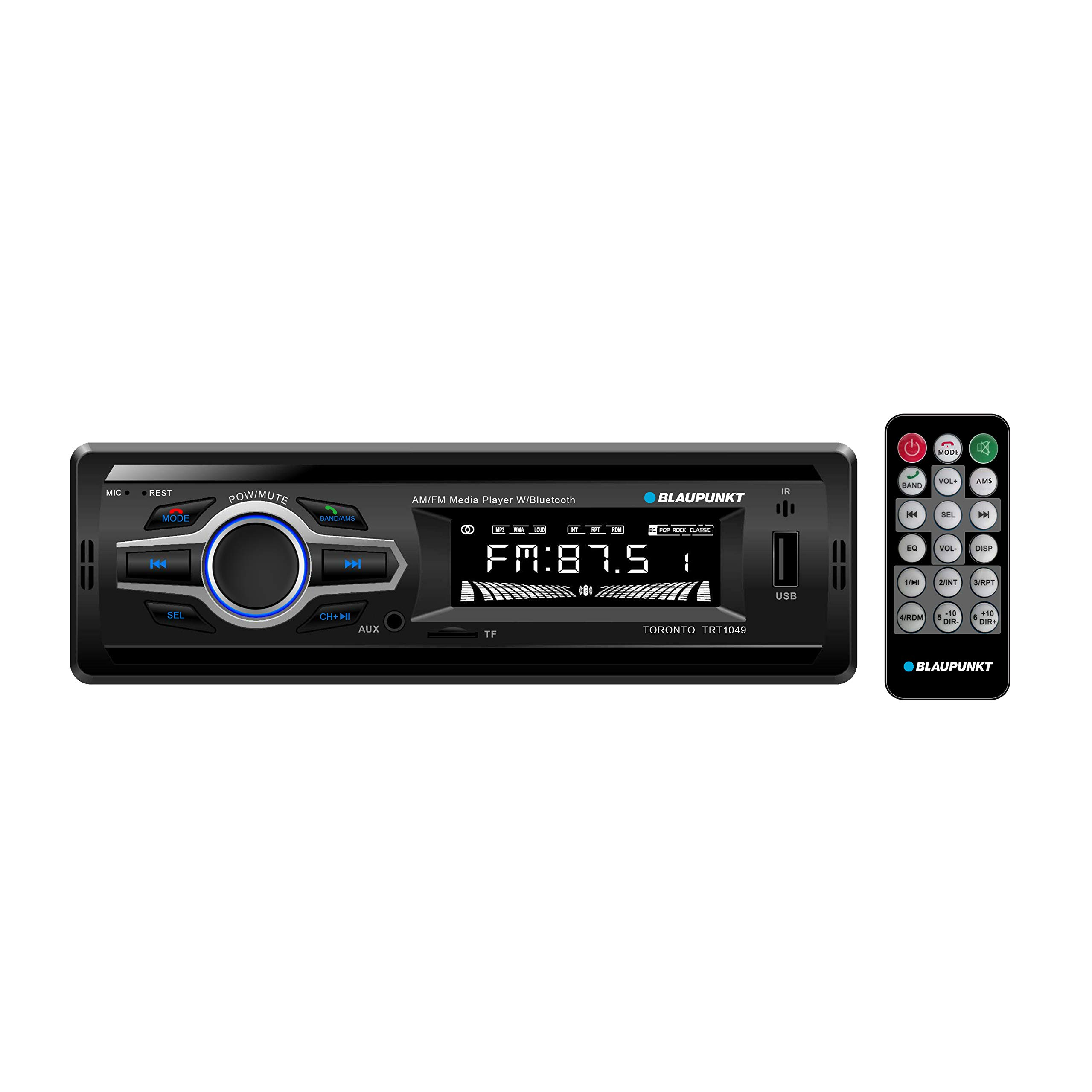 Blaupunkt Toronto AM/FM Media Receiver - Bluetooth, Easy Installation, Remote Control Included, SD Card, Aux Input, Handsfree