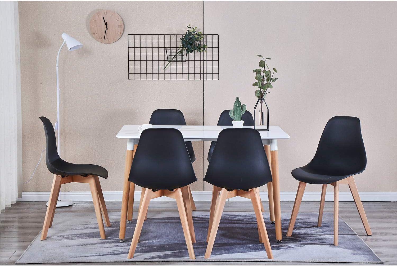 MeillAcc Set di 4 sedie per Sala da Pranzo con Gambe in Legno massello Sedie da Cucina retr/ò per Soggiorno Ufficio Europeo di Design Bianco