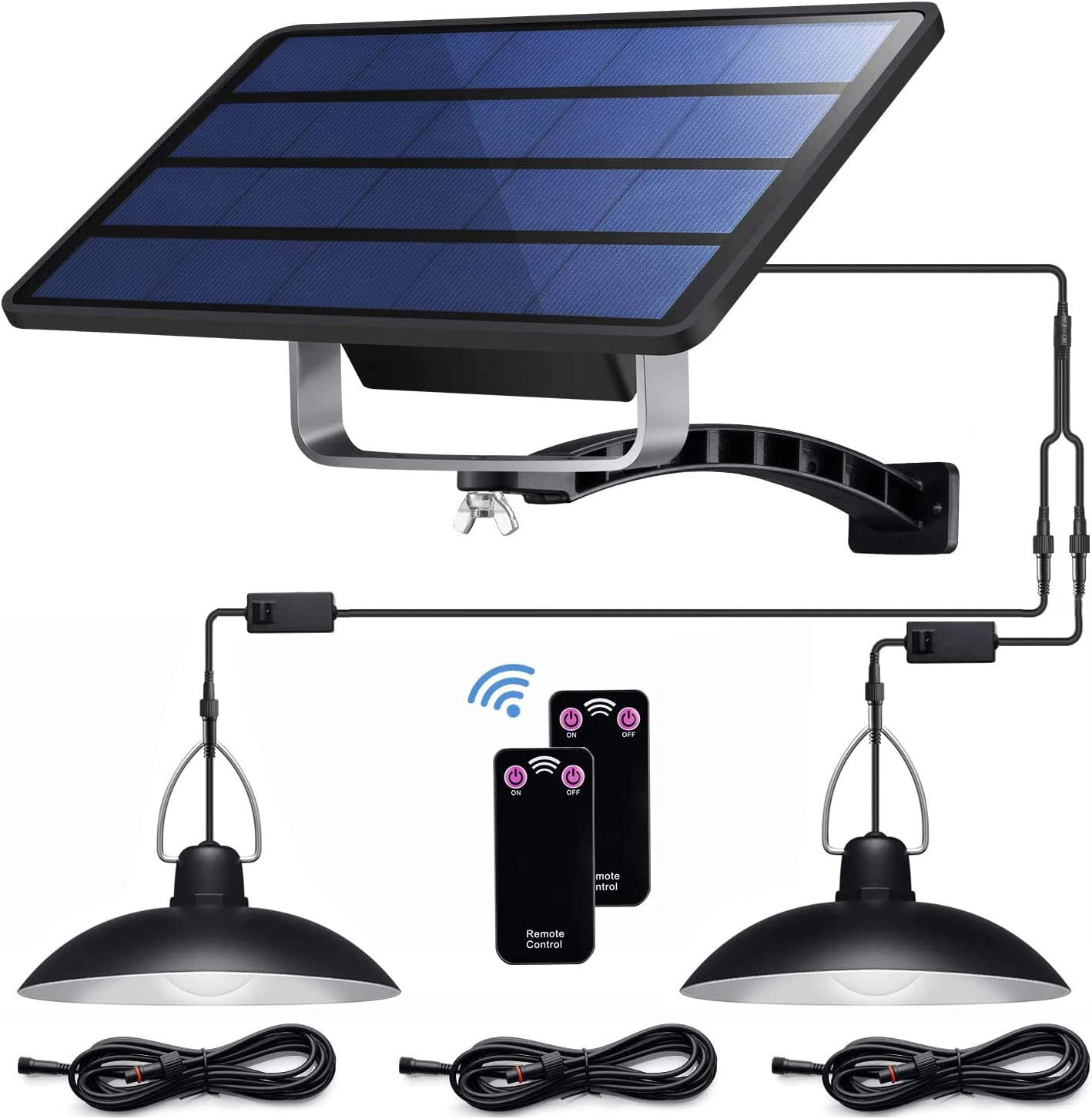 Solar Pendant Lights IP65 Waterproof Lamp with Remote ControllerDouble Bulb Lights for Outdoor Shed Barn Chicken Coop Bullpen Pig Pen 3pcs 3m/9.8ft Extension Cord
