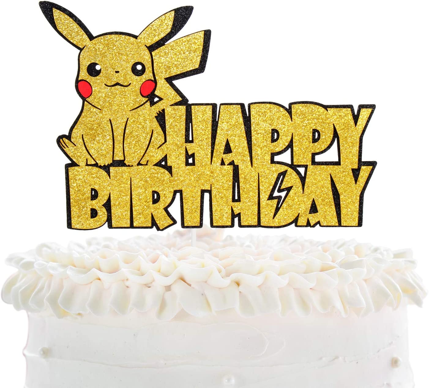 Creations Pikachu Happy Birthday Cake Topper - Pokeman Go Theme Party Adorable Glitter Pikachu Cake Décor - Baby Shower Child Birthday Party Decoration