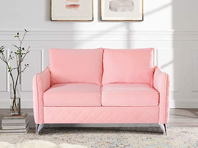 Altrobene Contemporary Loveseat Velvet Sofa Couch With Silver Tone Metal Legs In Pink Amazon Co Uk Kitchen Home