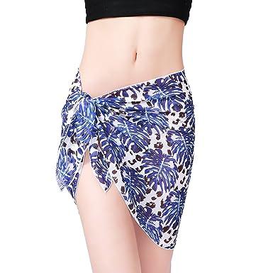 44f966ef0e88a Women Swimwear Chiffon Scarf Beach Sarong Bikini Cover Up Short Swimsuit  Wrap Dress Skirt (Blue