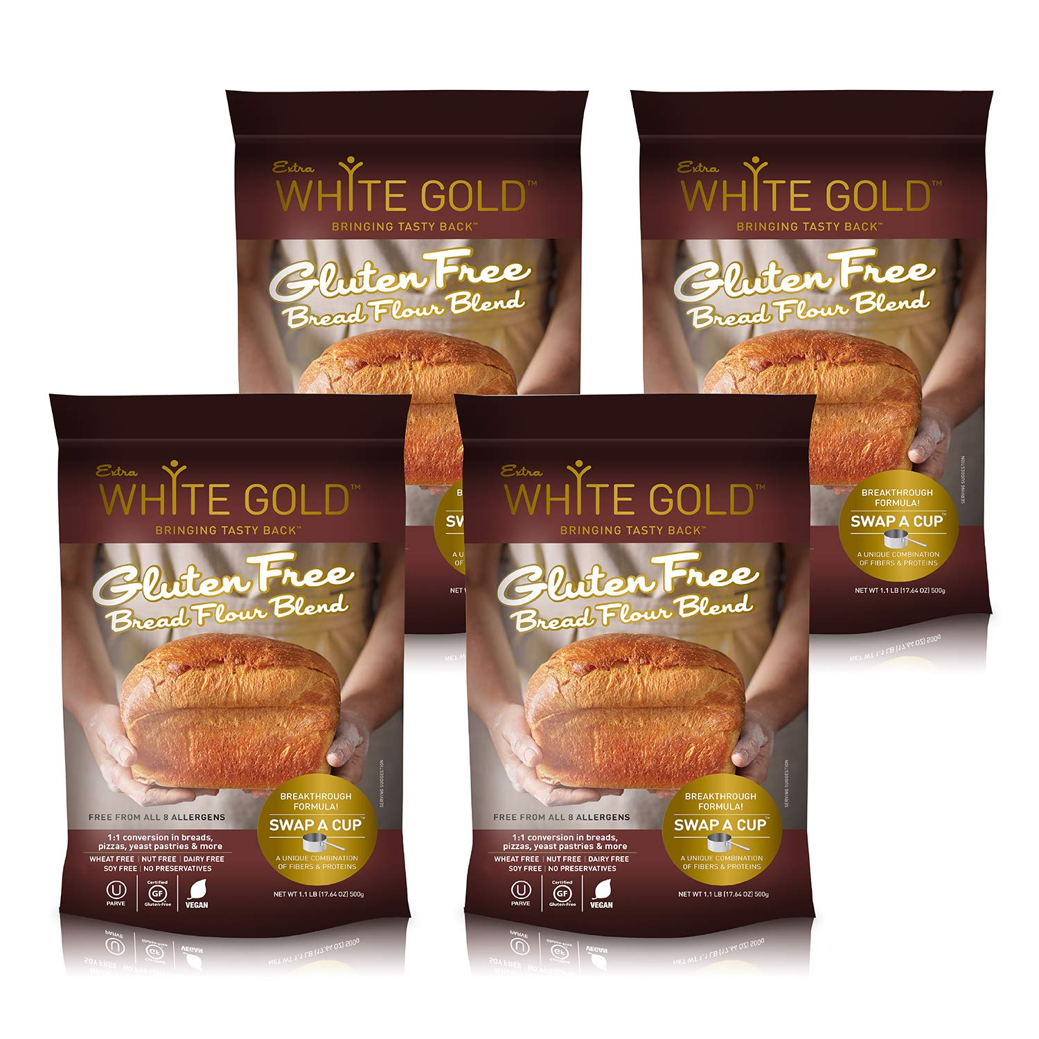 Extra White Gold Gluten Free Bread Flour Blend - For Breads, Yeasted Pastries , Pizza, Focaccia - [Kosher] [Gluten Free] [Vegan] [Soy Free] [Nut Free] [Dairy Free] - 1.1 Pound (4 pack) by Extra White Gold