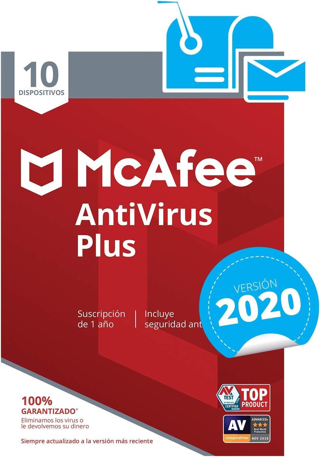 McAfee AntiVirus Plus 2020 - Antivirus   10 Dispositivos   Suscripción de 1 año   PC/Mac/Android/Smartphones   Código de activación por correo