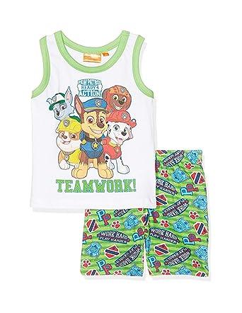 f8e42e93e3cc9 La Pat  Patrouille Pyjama débardeur Enfant garçon Blanc Vert de 3 à 6ans   Amazon.fr  Vêtements et accessoires