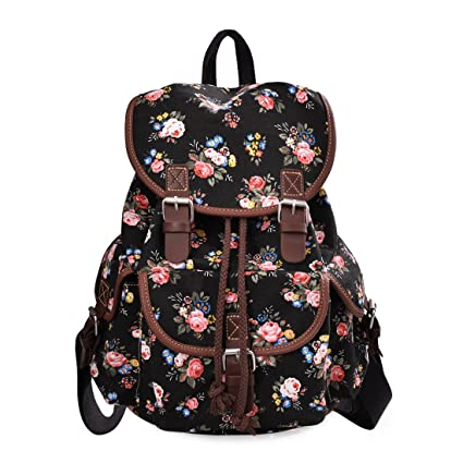 f1b5501d0daa Douguyan Lightweight Backpack for Teen Young Girls Cute Backpack Print  Rucksack Black 163