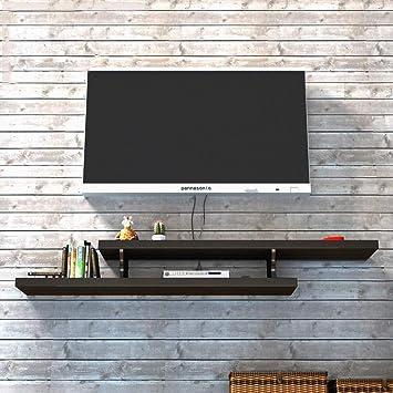 Mueble de Tv Mueble de Tv Consola de Fondo Fondo Estante Decorativo de Pared Dormitorio Sala de Estar Estante de Pared Soporte para Televisor Estante de Almacenamiento de Enrutador (Color: Blanco, Ta: