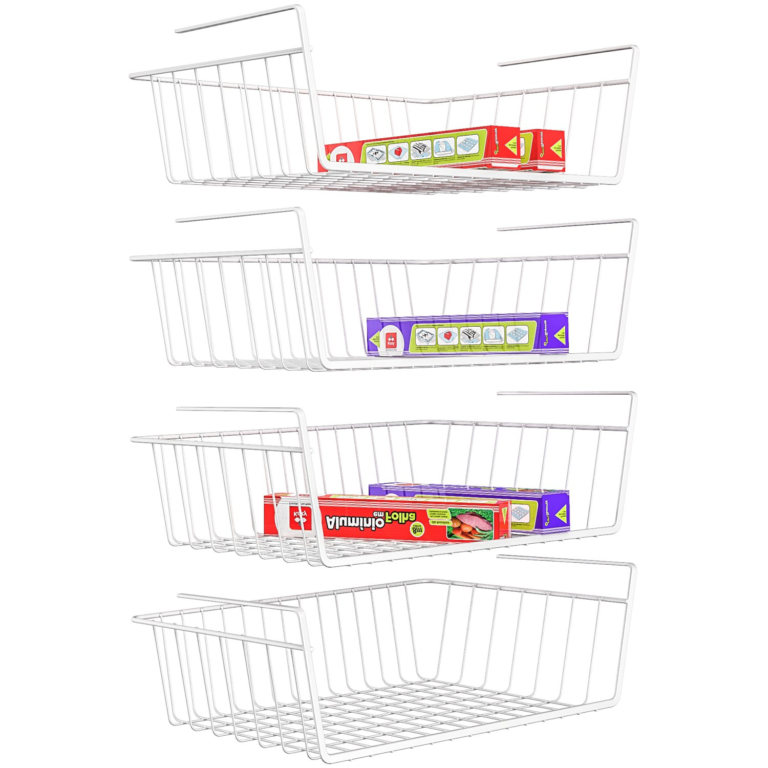 iSPECLE Under Shelf Basket, 4 Pack White Wire Rack, Slides Under Shelves for Storage, Easy to Install