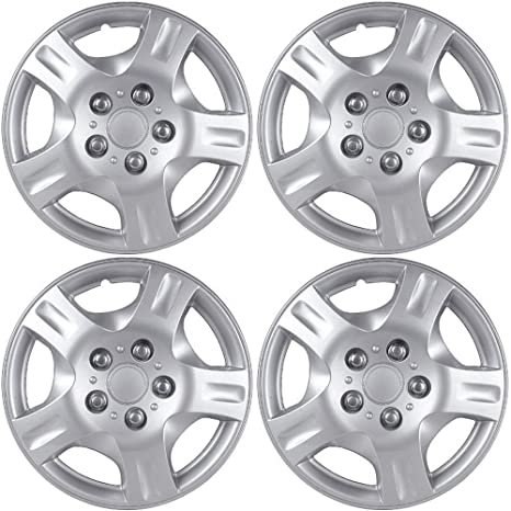 OxGord 15 inch Hubcaps Best for 2014-2017 Kia Forte - (Set of 4) Wheel Covers 15in Hub Caps Silver Rim Cover - Car Accessories for 15 inch Wheels - Snap On ...