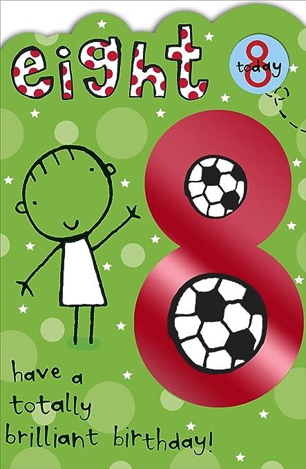 Tarjeta de cumpleaños con insignia de fútbol de 8 años ...
