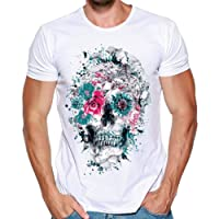 T-Shirt - Manches Courtes - Covermason Hommes Skull 3D Impression T-Shirts Col Rond Chemise À Manches Courtes T-Shirt Blouse Tops Grande Taille M-3XL