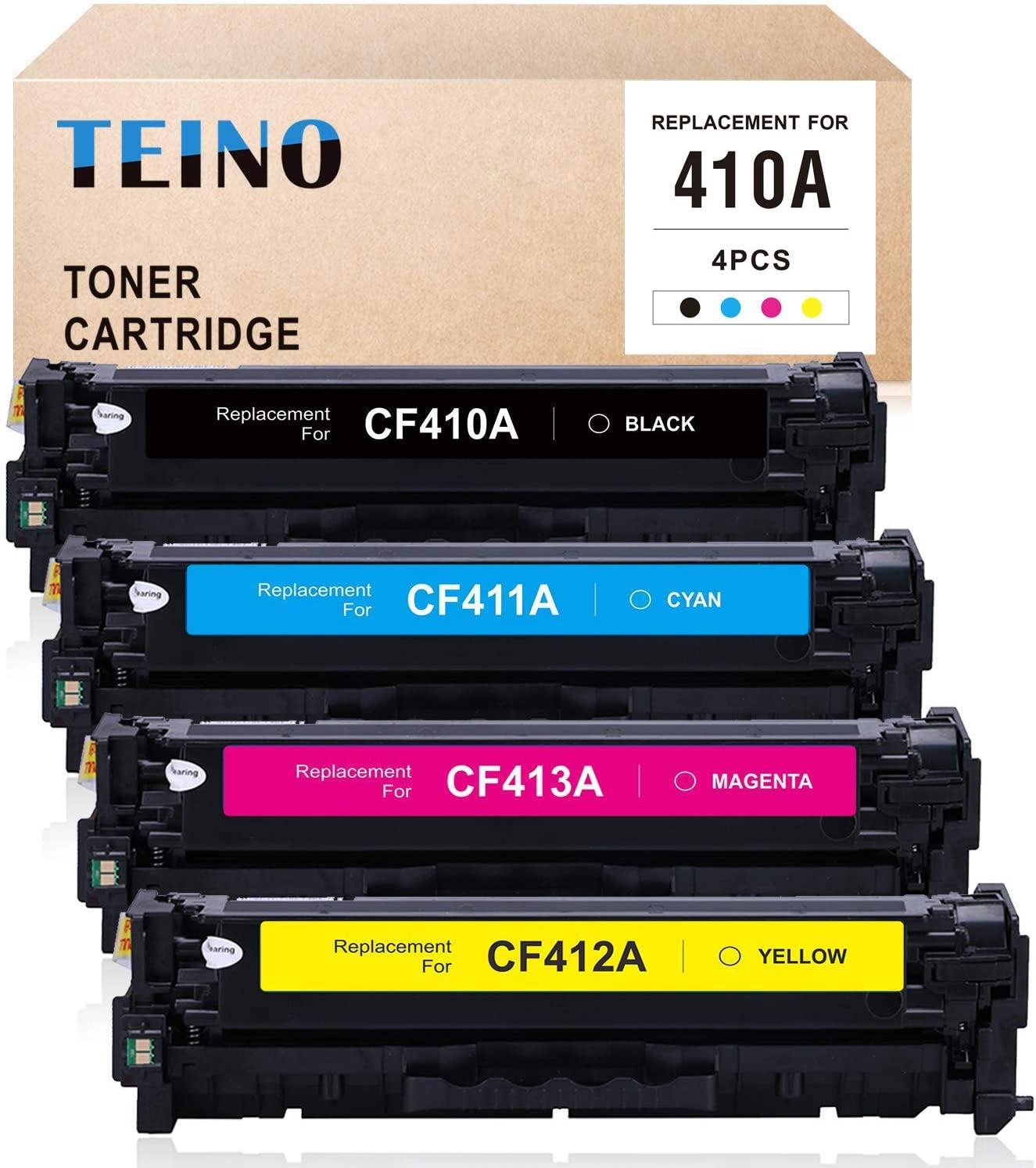 TEINO Compatible Toner Cartridge Replacement for HP 410A CF410A CF411A CF412A CF413A for Color Laserjet Pro MFP M477fnw M477fdw M477fdn Pro M452nw M452dw M452dn (Black, Cyan, Magenta, Yellow, 4 Pack)