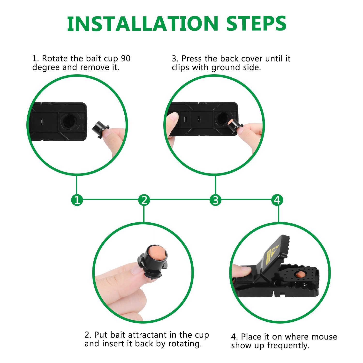 Adoric 4-Pack Mouse/Rats Trap That Work Humane Power Rodent Killer 100% Mouse Catcher Safe for Families and Pet by Adoric (Image #5)