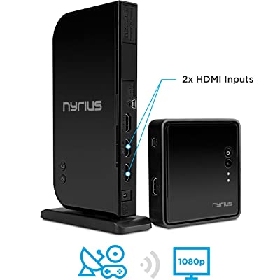 Nyrius ARIES Home+ Wireless HDMI 2x Input Transmitter & Receiver for Streaming HD 1080p 3D Video and Digital Audio from Cable box