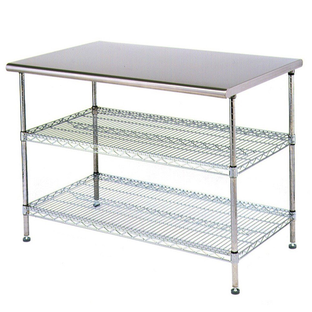 Stainless Steel Work Table Food Prep 24 x 48 with 2 Chrome Wire Undershelf