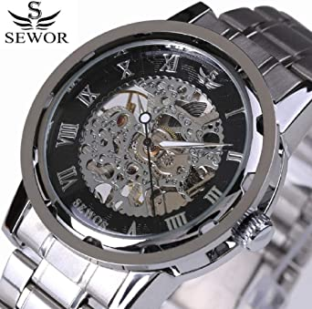 Relojes Clásico Retro Número Romano Retro Acero Negro Movimiento Transparente Caja Reloj Mecánico para Hombre Top Brand Luxury Skeleton Watch @ Color_05: Amazon.es: Relojes