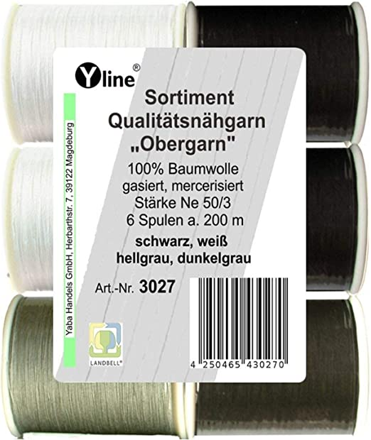 Surtido de 6 bobinas, 200 m de calidad, hilo negro de coser ...