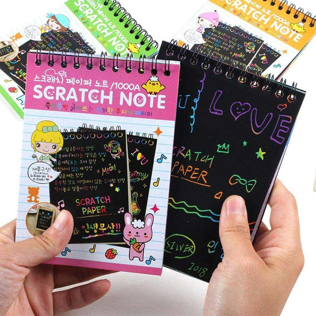 Adidome 1 Pcs Children Multicolor Drawing Writing Scratch Paper Notebook with Wooden Stylus Kids Education Toy Special Education Supplies