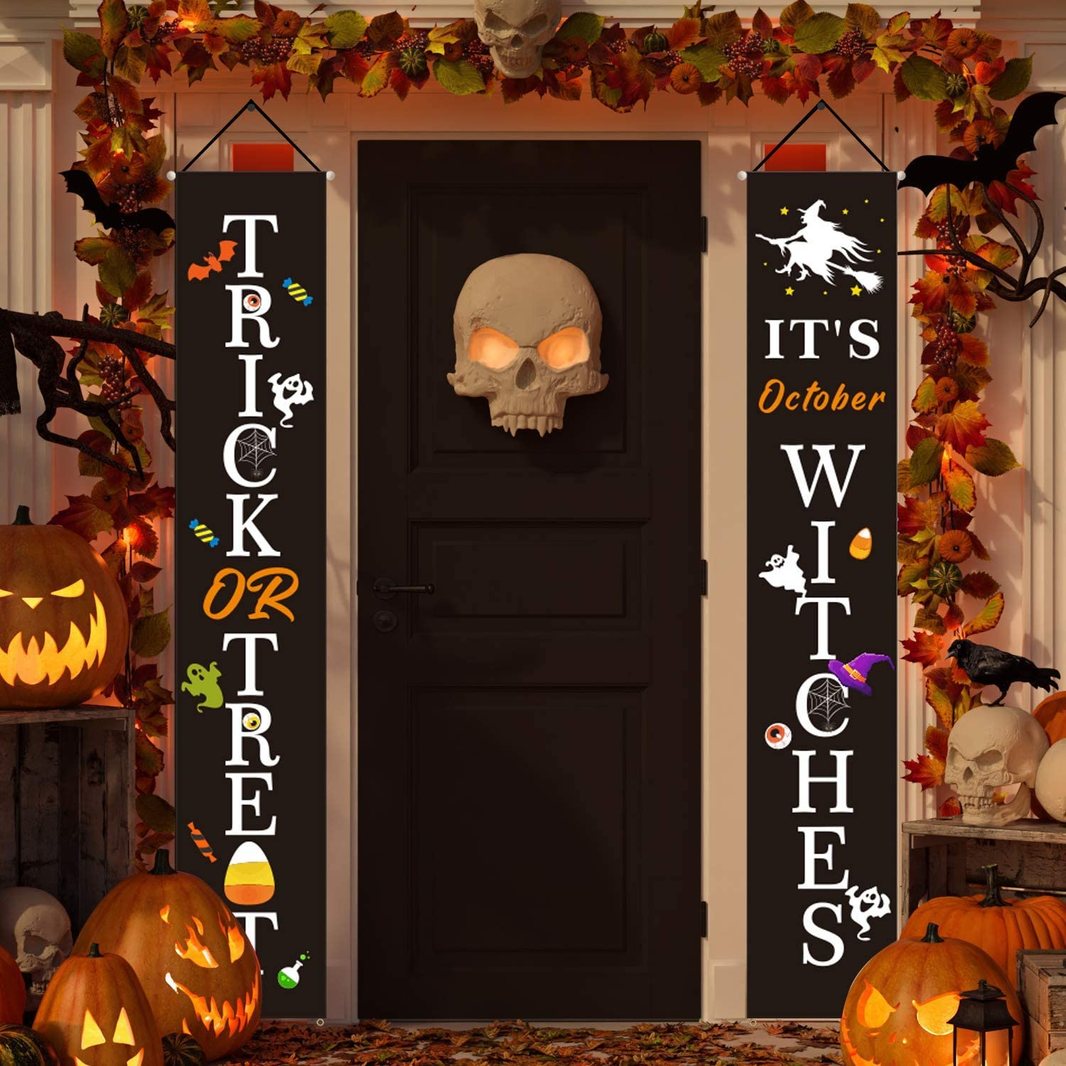 HMASYO Halloween Decorations Banner - Halloween Trick or Treat It's October Witches Welcome Signs Flags for Home Porch Fireplace Front Door Or Outdoor Decor, 600D Oxford Fabric (Black - Witches)