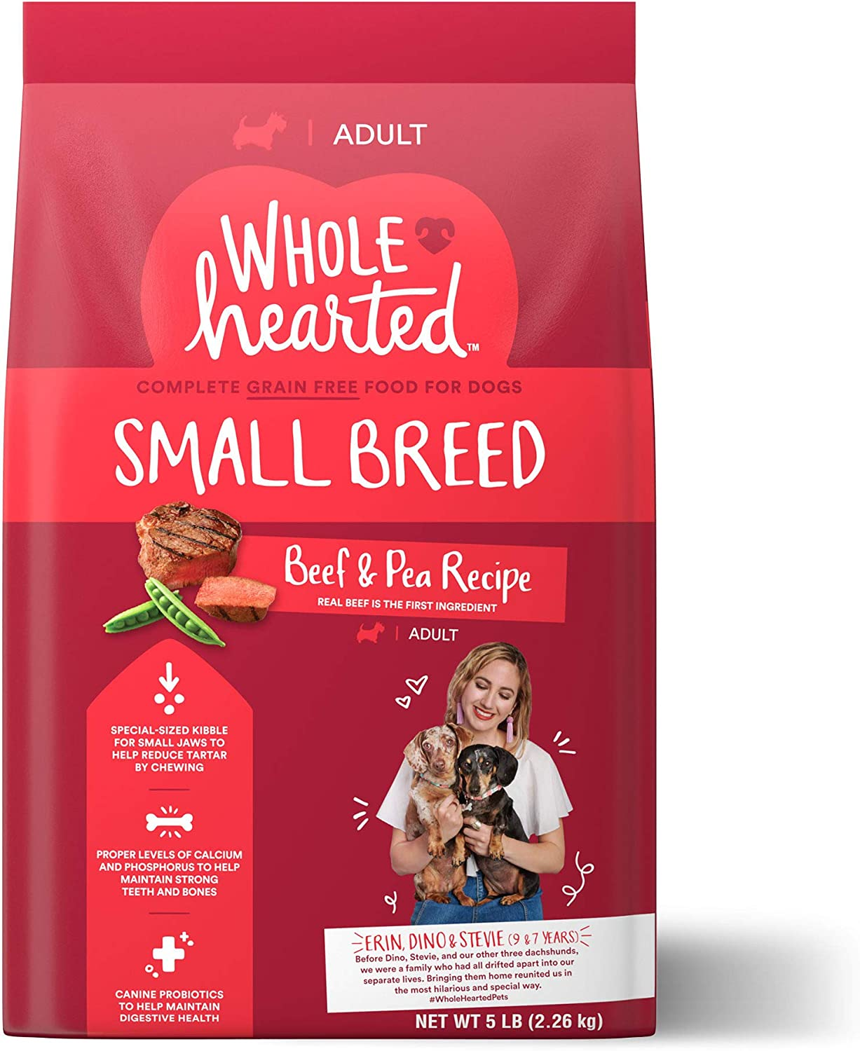 WholeHearted Grain Free Small-Breed Beef and Pea Recipe Adult Dry Dog Food, 5 lbs.