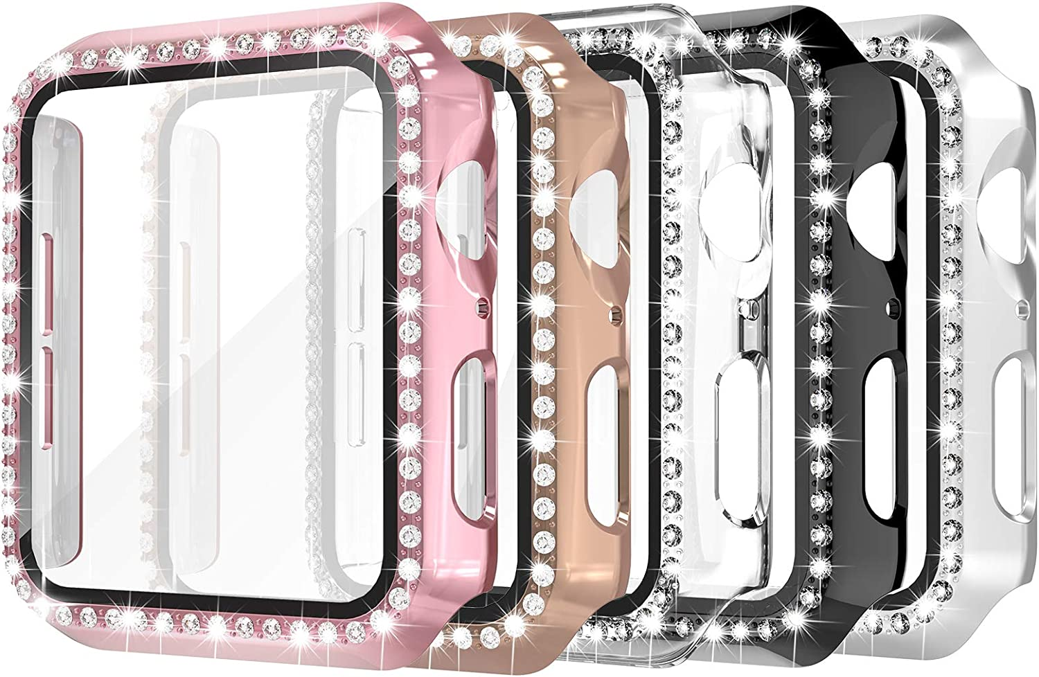 Simpeak 5 Pack 40mm Bling Hard Case Built-in Glass Screen Protector Compatible with Apple Watch Series 6 Se 5 4, Full Crystals Protector Case Replacement for iWatch 40mm, Gold/Pink/Black/Silver/Clear