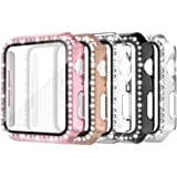 Simpeak 5 Pack 44mm Bling Hard Case Built-in Glass Screen Protector Compatible with Apple Watch Series 6 Se 5 4, Full Crystal