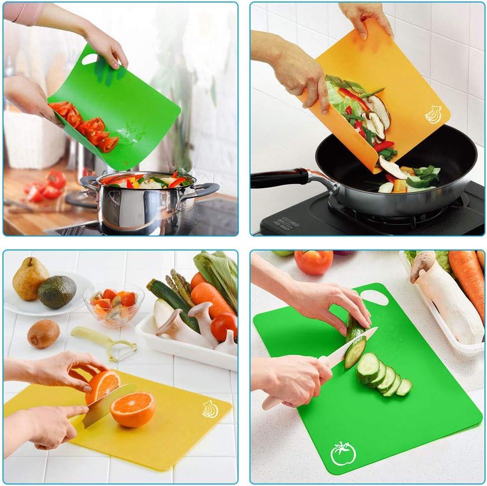 Iconos de Alimentos y Manijas Juego de 4 Tablas de Cocina de Flexible con Color Diferente Alimento Tablas de Cortar Antideslizante para Lavavajillas Vicloon Tablas de Cortar de Pl/ástico