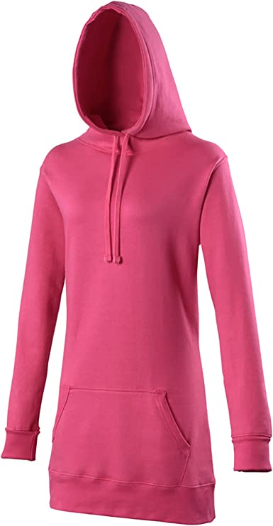 AWDis Girlie Long Line Poly Cotton Hoodie Long Sleeve Long Length Women Pullover