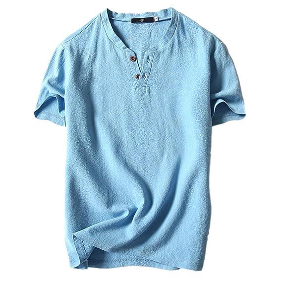 Camisetas Tirantes para Hombre Camisetas Botones Color Sólido Camisa Blusa Camisetas Naturazy Verano Casual Lino Y