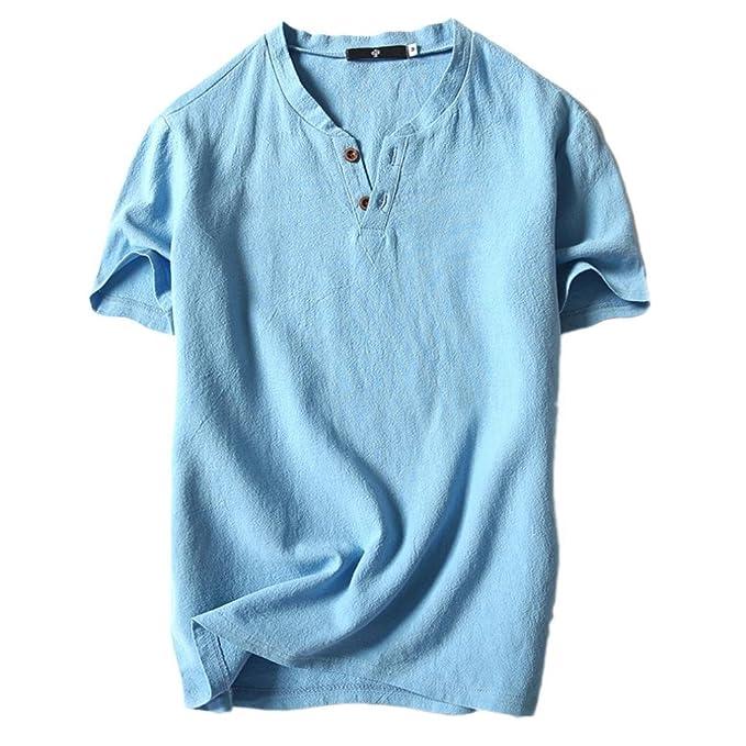 Camisetas Tirantes para Hombre Camisetas Botones Color Sólido Camisa Blusa Camisetas Naturazy Verano Casual Lino Y Algodón Manga Corta Camiseta Cuello En V ...