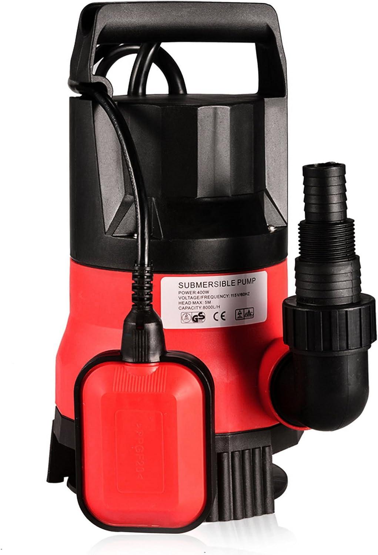 Homdox Sump Pump 1/2HP Submersible Clean/Dirty Water Pump For Basement, Garden Tub, Pool, Pond Flood Drain (400W Red)