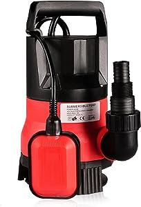 Homdox Sump Pumps 2112GPH 1/2HP 400W Clean Dirty Submersible Water Pump Swimming Pool Drain (Red)