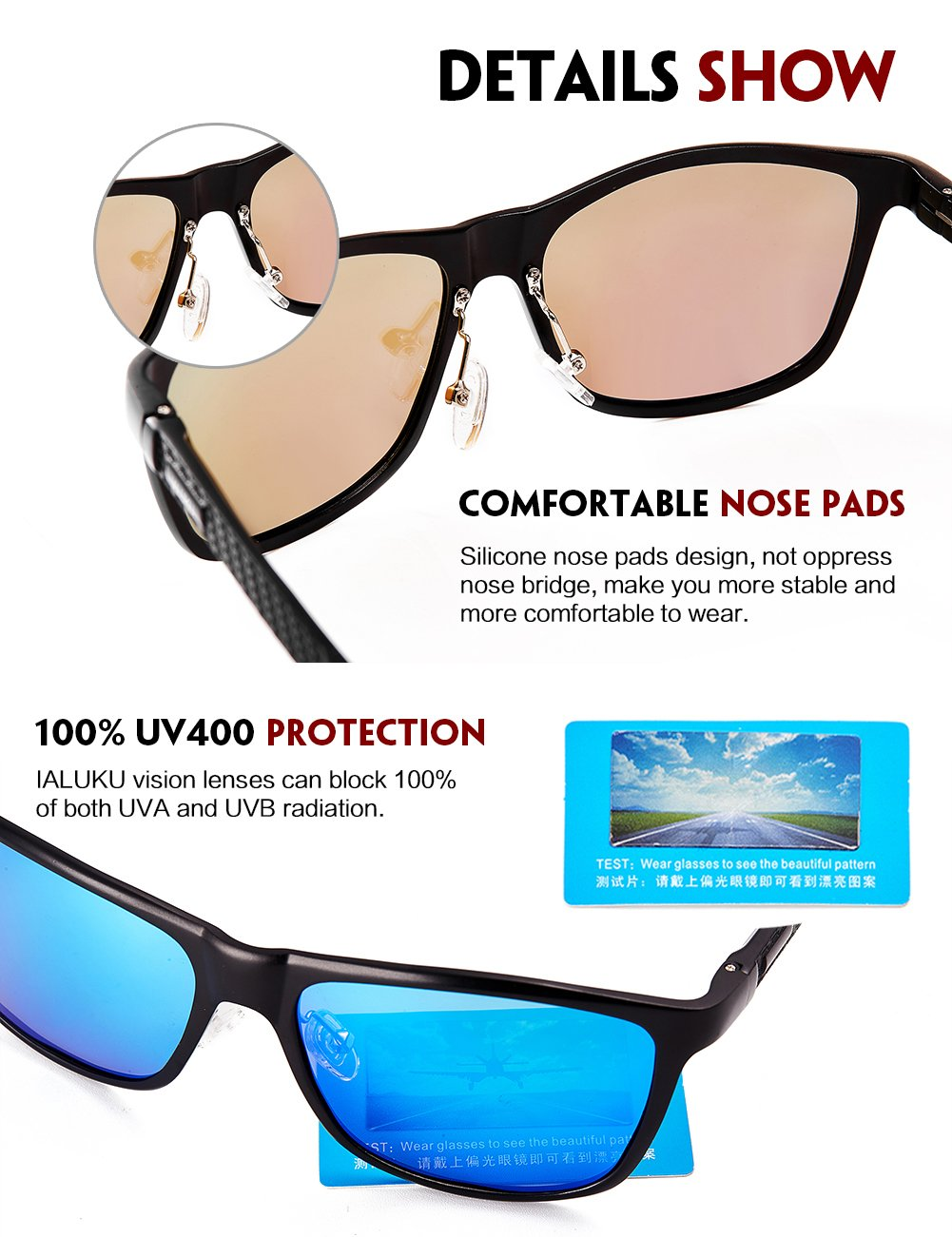 IALUKU Retro Driving Wayfarer Polarized Sunglasses for Men Metal Frame UV Protection (Black&Blue, 61)