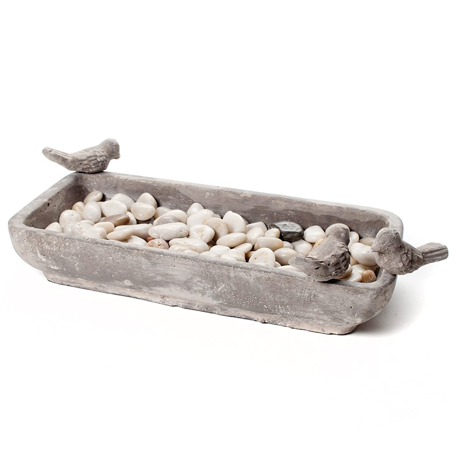 Abbott Collection 27-RELIC/682 LG Ceramic Rectangular Bird Bath, Grey