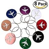 NUOLUX Etichetta bagaglio In alluminio aria aereo modello bagagli Tag bagagli borsa ID Tag nome titolare della carta con portachiavi 8pcs