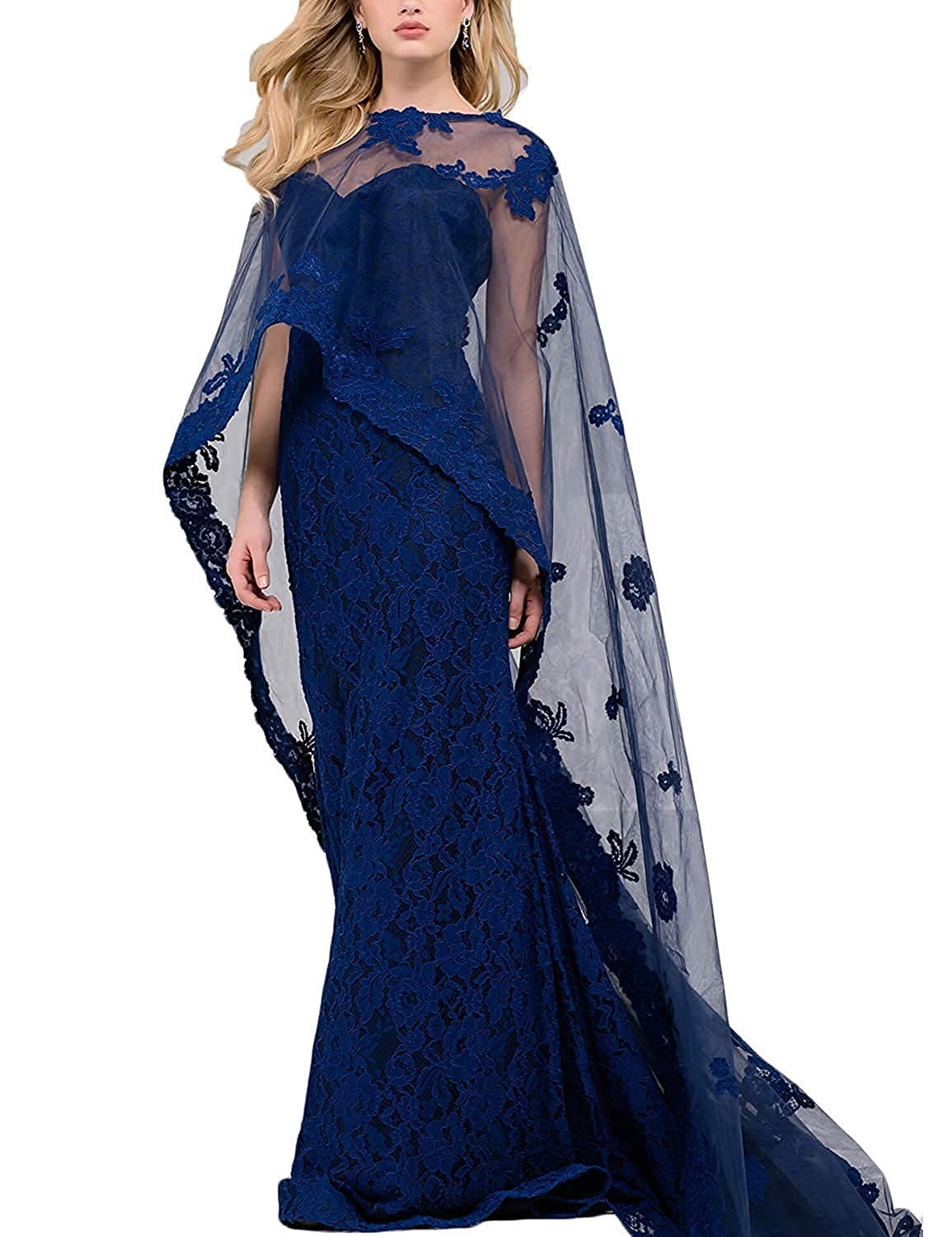 Dark bluee LiBridal Women's Lace Evening Prom Dresses Cape Mermaid 2018 Formal Long Gown
