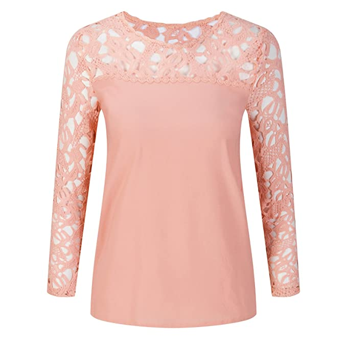 Mujer Tops Boda Beauty7 Encaje Casual Camisetas Floral Superior Hollow Larga Lace Hueco Blusa Redondo Cuello T Shirt Fiestas Elegante Parte Mangas Camisas wxIRSx