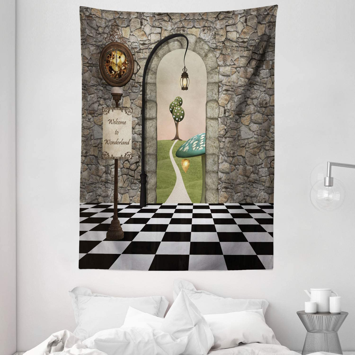 Amazon Com Ambesonne Alice In Wonderland Tapestry Welcome