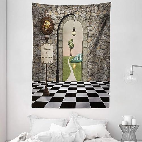 Ambesonne Alice in Wonderland Tapestry, Welcome Wonderland Black and White Floor Landscape Mushroom Lantern, Wall Hanging for Bedroom Living Room Dorm, 60 X 80 , Black Green