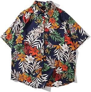 ALMRKS Camisa Hawaiana para Hombre, Flores Y Plantas Transpirables, Manga Corta De Estilo Europeo Y Americano: Amazon.es: Deportes y aire libre