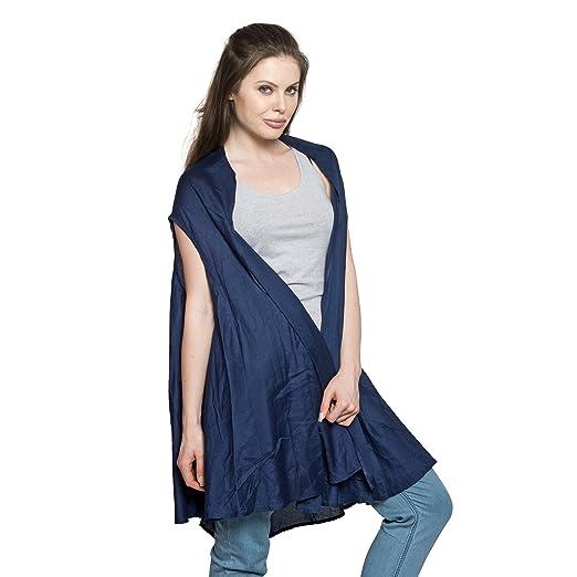 e659ac6d3433d Blue Pure Rayon Round Drape Swimsuit Cover-ups Kimono for Women Vest Free  Size