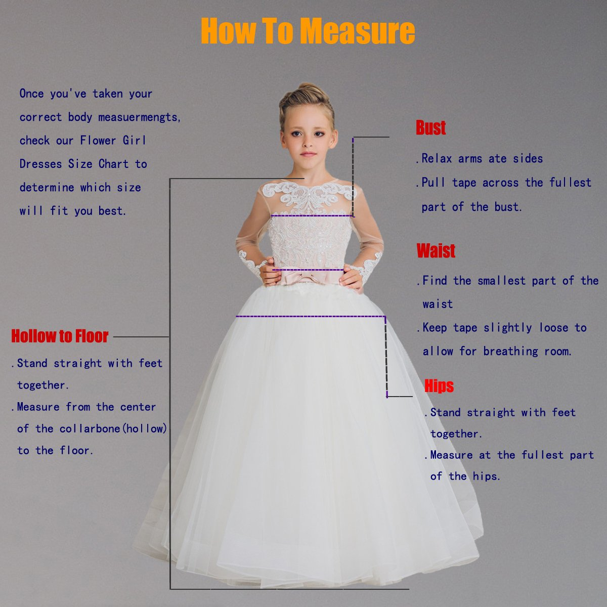 3265f7d89d1 Amazon.com  Vintage Flower Girls First Communion Dresses with Lace Sleeves  Long Pageant Ball Gown  Clothing