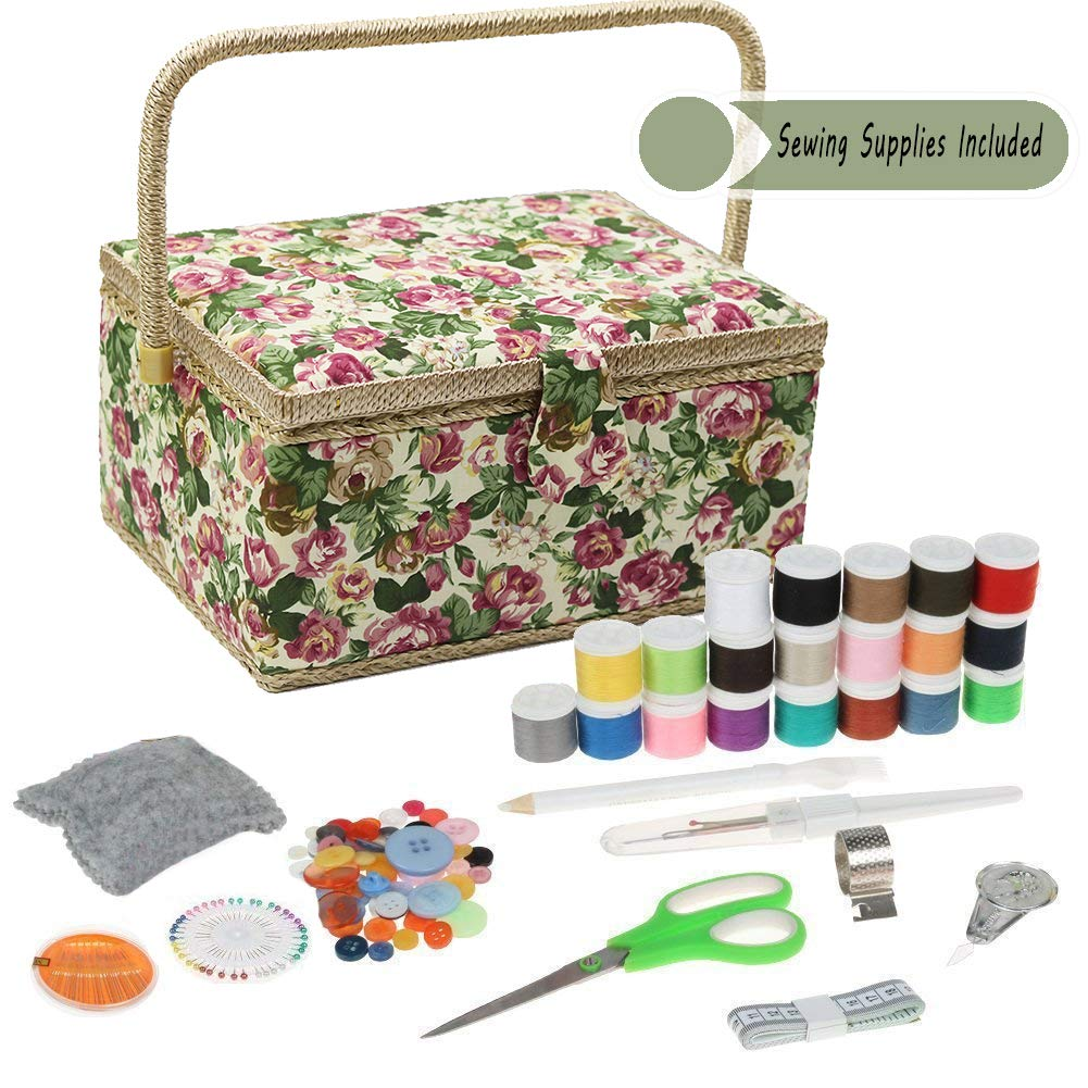 Green Flower Large D&D Sewing Basket Organizer with Sewing Kit Accessories, Green