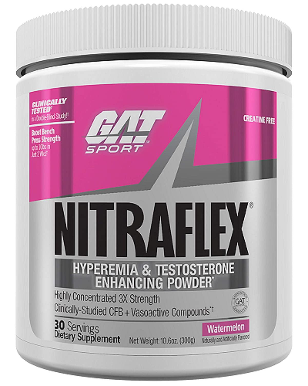GAT Clinically Tested Nitraflex, Testosterone Enhancing Pre Workout, Watermelon, 300 Gram by GAT