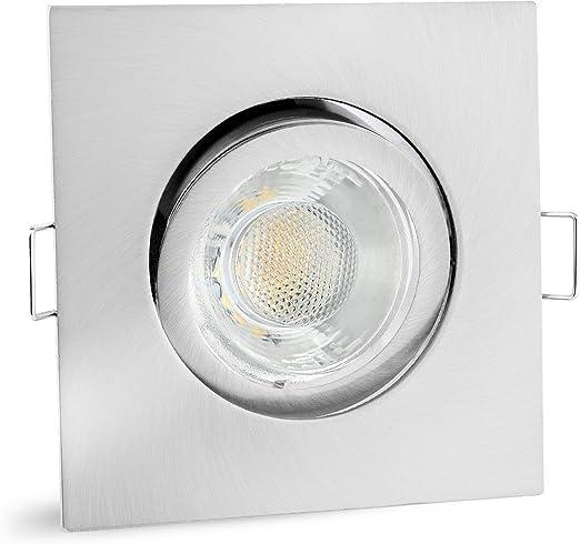 Alu Einbaurahmen Einbau Strahler eckig Bajonettverschluß Weiß 30° schwenkbar LED