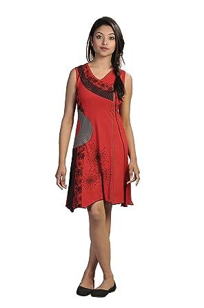 Damen Ärmelloses V-Ausschnitt Kleid mit buntem Patch und Stickerei ...