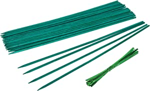 YHmall 25 Pcs Green Wood Plant Stakes, Floral Plant Support Wooden, Wooden Sign Posting Garden Sticks (18 inch)